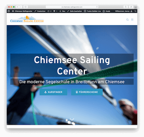 Screenshot der Website der Firma Chiemsee Sailingcenter