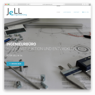 Screenshot der Website von Jell Engineering