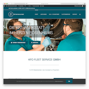 Screenshot der Website von KFO Fleet Service GmbH