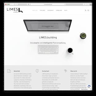 Screenshot der Website von Limes.building
